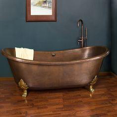 """71"""" Hadley Copper Double-Slipper Tub - Cast Brass Feet - Overflow"""