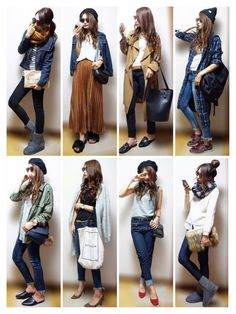 Love this chick's cool style Japan Fashion, Fashion 2017, Daily Fashion, Love Fashion, Girl Fashion, Fashion Looks, Womens Fashion, Winter Fashion Outfits, Fall Outfits