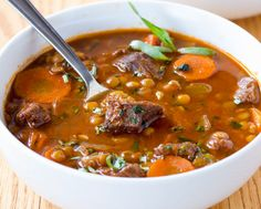 The Health and Gourmet Meal of Beef Stew and Lentil .-Le Repas Santé Et Gourmand de Ragoût de Boeuf Et de Lentilles… (miam!) The Health and Gourmet Meal of Beef Stew and Lentils … (yum! Beef Lentil Soup, Lentil Soup Recipes, Easy Soup Recipes, Easy Healthy Recipes, Gourmet Recipes, Cooking Recipes, Protein Recipes, Healthy Food Tumblr, Confort Food