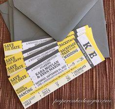 He encontrado este interesante anuncio de Etsy en https://www.etsy.com/es/listing/56281840/concert-ticket-wedding-save-the-date sports save the dates, baseball save the dates #wedding #sports