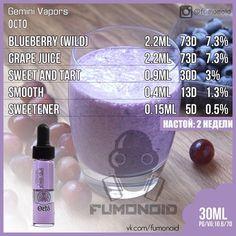 Gemini Vapors (Octo) - виноград и черника. Привкус свежевыпеченного пирога в сочетаниями с этими ягодами оставляют послевкусие выпеченного пирога заправленного джемом из ягод