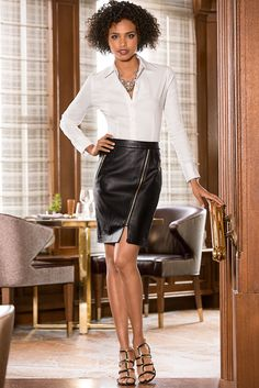 Every woman's wardrobe needs a leather pencil skirt. Perfectly paired with an easy graphic tee or button-down boyfriend shirt.