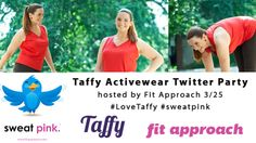 Join us March 25th for our Taffy Activewear Twitter Party  hosted by Fit Approach!  Follow hashtags #LoveTaffy #sweatpink  Bloggers will be on hand with Taffy Activewear founder, Katie Kozloff to talk getting healthy and active this Spring! In addition to the Twitter Party, #sweatpink bloggers have been hard at work reviewing Taffy Activewear and hosting giveaways!