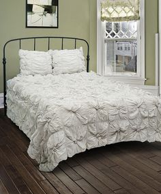 Another great find on #zulily! Gray Ruffle Comforter Set by Rizzy Home #zulilyfinds