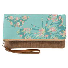 Pretty Floral Butterflies clutch bag.