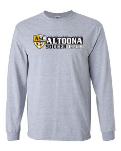 Altoona Soccer Club | Horizontal Long Sleeve Tee | Front view | Sport Grey Soccer Fans, Long Sleeve Tees, Club, Sweatshirts, Grey, Sleeves, Sports, Cotton, Gray