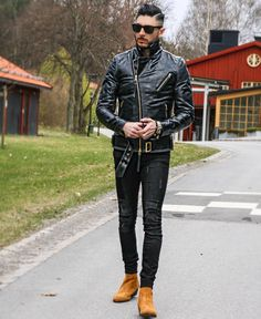 Hot instagrammer marcellocalvetti in a black leather biker jacket