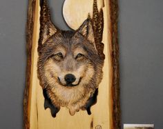 Wolf Carved on Wood Wood Carving with Bark Hand Made von DavydovArt