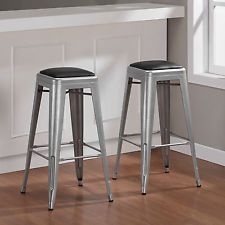30 inch Padded Metal Bar Stools Dining Room Modern Kitchen Seat Set of 2