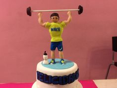 Gym cake, pastel fondant gimnasio.