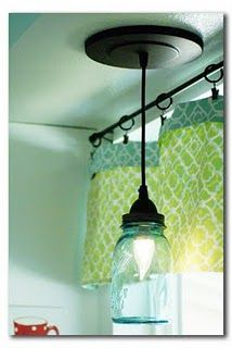 Ball jar pendant light made with conversion kit from Home Depot