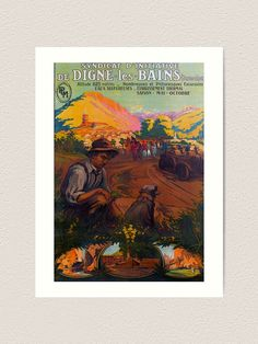 """Digne les Bains Vintage Travel Poster """"The journey of a thousand miles begins with a single step. Excursion, Retro Color, Vintage Travel Posters, Baths, Cruise, Wanderlust, Journey, France, Holiday"""