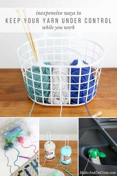 Inexpensive DIY Yarn Holders from Household Items This! Organize your yarn with these inexpensive DIY yarn holders made from objects you can find around your house like egg cartons, baskets, baby food containers and items from the dollar store. Crochet Tools, Crochet Crafts, Crochet Yarn, Yarn Crafts, Crochet Stitches, Crochet Patterns, Yarn Projects, Crochet Projects, Knitting Projects