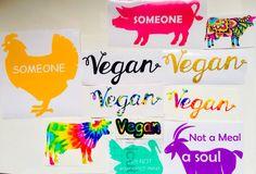 Vegan Car Stickers, Vegan Decals, Vegan Stickers in Many Colors.  https://www.etsy.com/shop/BohoBlueberry