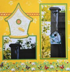 Summer Garden scrapbook page with a Birdhouse from Cricut's Stretch Your Imagination
