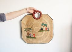 woven straw Japanese summer tote . tiny village scene by DOTTO