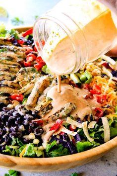 Salad Recipe | Cilantro Lime Chicken Taco Salad With Creamy Baja Catalina Dressing - RecipeMami.com