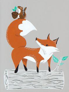 Woodland Fox Print for Grey Nursery Decor, Fox Illustration as Orange Kids Decor, Kids Room Art, Woodland Nursery, Baby Nursery Art