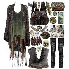 hedge witch I would love all of these things in my closet, how about you? Casual Goth, Mode Outfits, Fashion Outfits, Casual Outfits, Witchy Outfit, Hedge Witch, Look Girl, Mode Boho, Look Vintage