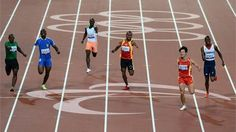 Athletes compete in the Men's 200m - T46 heat 1 on Day 2 at the London 2012 Paralympic Games at the Olympic Stadium.