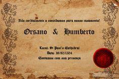 Este é um convite de casamento simplificado feito em um estilo rústico e medieval