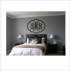 Vine Monogram Decal Large Vinyl Wall Decal by CustomVinylbyBridge, $26.00