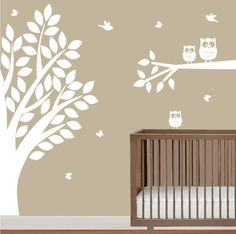 """wall decal stickers  baby nursery tree and branch decal with owls """" wall vinyl """". $120.00, via Etsy."""
