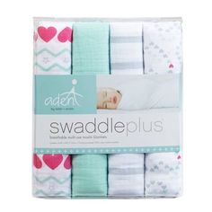 Aden by Aden + Anais Light Heart Muslin Swaddleplus in Pink and Blue
