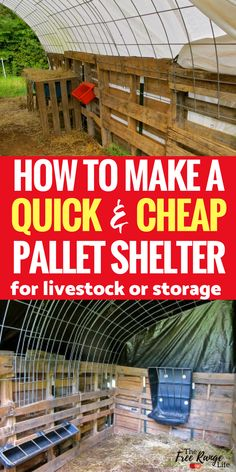 Pallet Projects: Homesteads: Make this quick and easy pallet shelter for your goats or other livesto Pallet Barn, Pallet Shed, Pallets Garden, Pallet Gardening, Goat Shelter, Horse Shelter, Sheep Shelter, Used Pallets, Recycled Pallets
