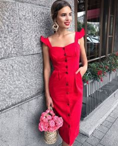 16 Beautiful Outfits With Summer Dresses Cute Red Dresses, Casual Dresses, Summer Dresses, Red Dress Casual, Dress Skirt, Dress Up, Dress Outfits, Fashion Dresses, Mode Hippie