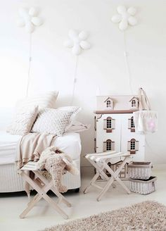 little white nursery//Childrens are so happy that they deserve a colorfull place to be in. Decorate your children room with colorfull chandeliers, and a modern bed. See more home design ideas at www.homedesignideas.eu