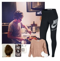 """""""Taking a picture of Niall as he's cooking us dinner"""" by nblankenship ❤ liked on Polyvore featuring NIKE, Ryan Roche, Hue, Casetify and Laura Mercier"""