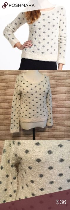"🎀MOTH {Anthropologie} Polka Dot Sweater *soft fuzzy material *crew neckline *Length 24"" *Chest 22-24"" across *Color: Cream/Gray Anthropologie Sweaters Crew & Scoop Necks"