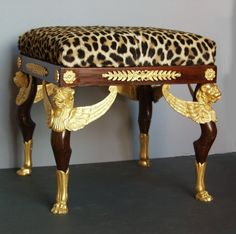 French 2nd Empire Bronze Ormolu Mounted Mahogany Stool, in the 'Style' of Georges Jacob, Napoleon III, circa: 1850-1860