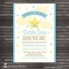 Twinkle Twinkle Little Star Boy Baby Shower Invitation by stockberrystudio on Etsy