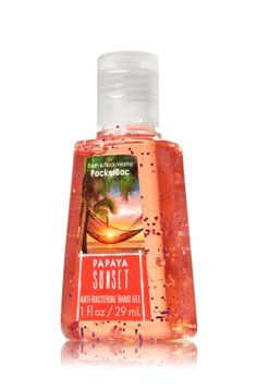 Papaya Sunset - PocketBac Sanitizing Hand Gel - Bath & Body Works - This miniature must-have contains natural ingredients and powerful germ killers that keep hands fresh and clean on-the-go with fragrance inspired by a tropical paradise! Have this set!!!!