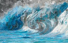 Matthew Cusick Depicts Roaring Movement of Waves Through Map Collages - Genevieve's Wave