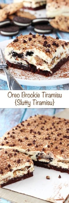 Oreo Brookie Tiramisu Oreo Brookie Tiramisu - a layer of brownie drizzled with Kahlua and espresso, tiramisu filling, Oreos and chocolate chip cookies dipped in more espresso and Kahlua! Just Desserts, Delicious Desserts, Dessert Recipes, Yummy Food, Recipes Dinner, Cake Recipes, Tiramisu Oreo, Tiramisu Cookies, Tiramisu Dessert