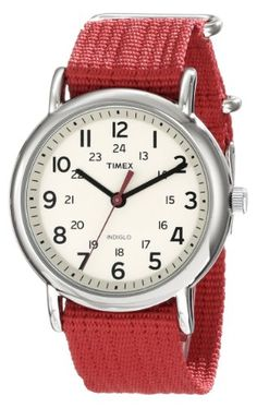 Men's Wrist Watches - Timex Unisex T2N751 Weekender Watch with Red Nylon Strap >>> Check out the image by visiting the link.
