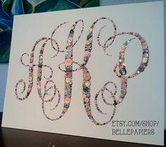 16x20 Button Art Custom Southern Monogram by BellePapiers on Etsy