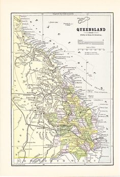 1887 map queensland australia vintage antique map great for framing 100 years old