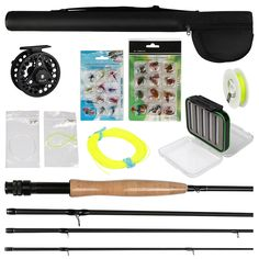 83.00$  Watch now - http://aliabh.worldwells.pw/go.php?t=32302092784 - 3/4 5/6 7/8 Fly Fishing Rod and Reel Combo with Flies Fly Fishing Line Set Fly Tying Materials 83.00$