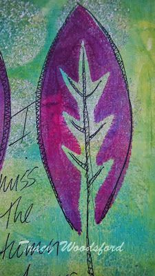I have to admit that I have bought a gelli-plate. Yes, I made one for myself quite a few months ago and loved it. Unfortunately, it started to go mouldy. I don't know why.....  So here is my page for the October Gelli-Print Party using one of my hand-cut stencils. I loved it so much I just added a phrase and deemed it finished :)   -- Sojourner: Art Journal Journey and October Gelli Print Party