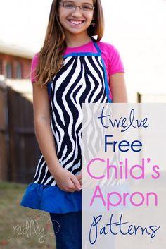 12 Free Child's Apron Patterns. Includes Zebra print, Legos, Mario, Luigi, Dora, Princess, Basketball, Spiderman, Superman, Batman, Horses and Froggy.