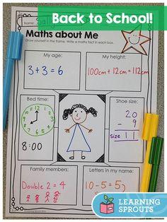 Back to School Activities: UK Spelling About Me Activities, Back To School Activities, Teaching Activities, Teaching Math, Teaching Ideas, Math Class, Kindergarten Math, School Hacks, School Ideas