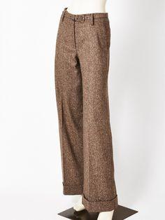 Oscar de la Renta Wide Leg Tweed Trouser