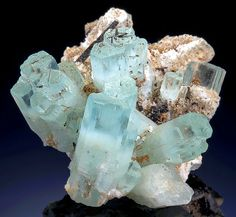 Aquamarine-Goshenite with Schorl on Microcline