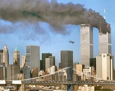 09.11.2001  World Trade Center terrorist attack north tower...plane at south tower. New York City, NY