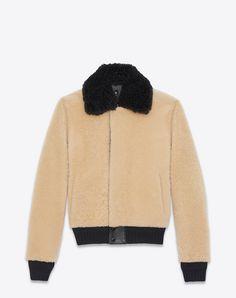SAINT LAURENT Leather jacket U Bomber Jacket in Beige and Black Shearling f