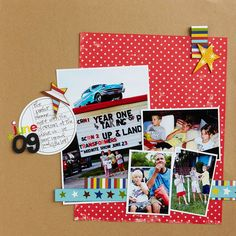 Design by Shannon Zickel For a fun, relaxed look, randomly overlap photos. Layering creates depth and grounds the page elements. Group and layer small photos to balance a large one.  SOURCES: Cardstock, die cut: Jillibean Soup. Patterned paper: American Crafts (blue star, stripe), Jillibean Soup (yellow star), Making Memories (red star). Stickers: American Crafts. Ink: ColorBox by Clearsnap. Pen: American Crafts. Punch: EK Success./